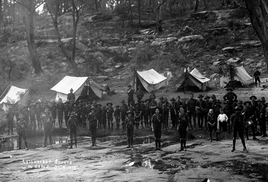 Leichhardt Scouts In Camp, Oct 1915. Image: J.X. Coutts