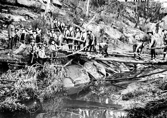 Boy Scouts (at) Work Bridge-Building. 1st Annandale Troop. Photo Coutts, Leichhardt
