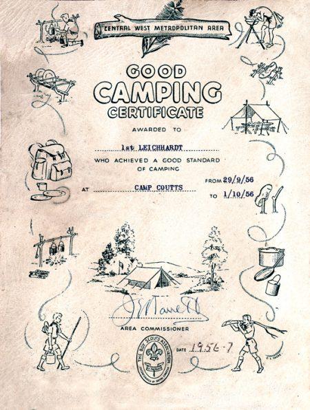 Good Camping Certificate 1956-7