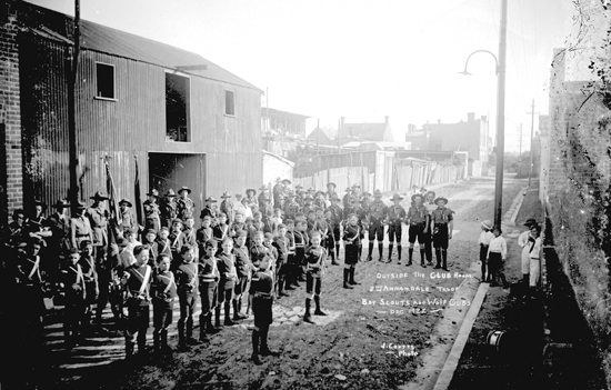 """Outside the Club Room @nd Annandale Troop Boy Scouts and Wolf Cubs Dec 192[2] J. Coutts Photo"""