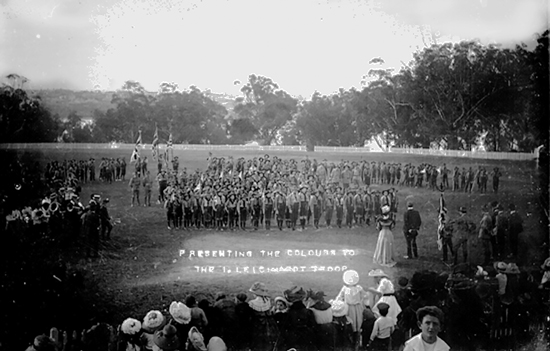 """Presenting the Colours to the 1st Leichhardt Troop"""