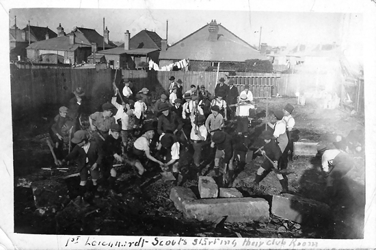 """1st Leichhardt Scouts Starting Their Club Room"" Image J.X. Coutts"