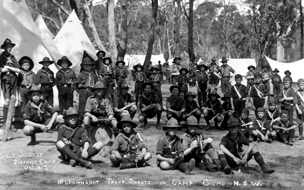 West Sydney District Camp, Oct 1917. 1st Leichhardt Troop Scouts in Camp, Como N.S.W.