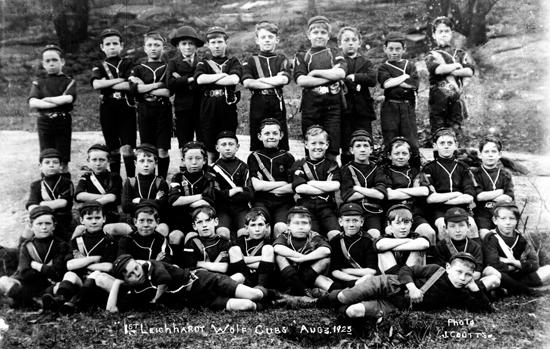 """1st Leichhardt Wolf Cubs Aug 3 1923. Photo J. Coutts"""