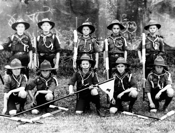 """Wolf Patrol"" 1st Leichhardt Scouts - Record formed 1914, Won Troop Competition 1915. Record in West Sydney District Compt 2nd 1915, 1st 1916, 1st Aug 1917, 2nd Sept 1917, Photo taken Sept 15, 1917. Image: J.X. Coutts"