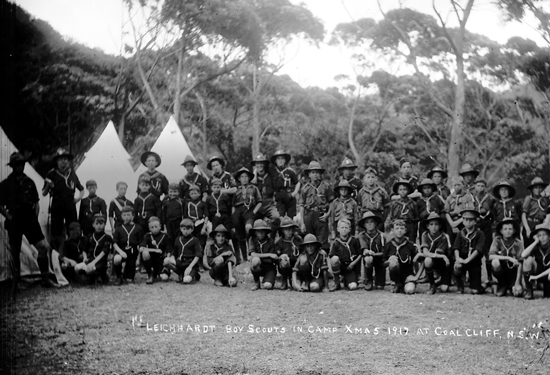 1st Leichhardt Boy Scouts in camp, Xmas, 1917 at Coalcliff, N.S.W.